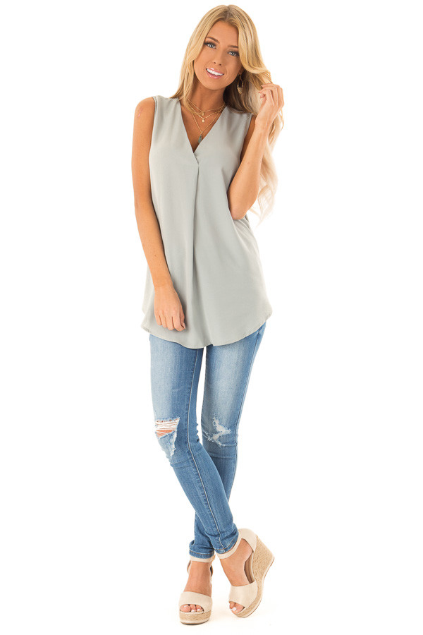 Dusty Sage Chiffon V Neck Sleeveless Blouse front full body
