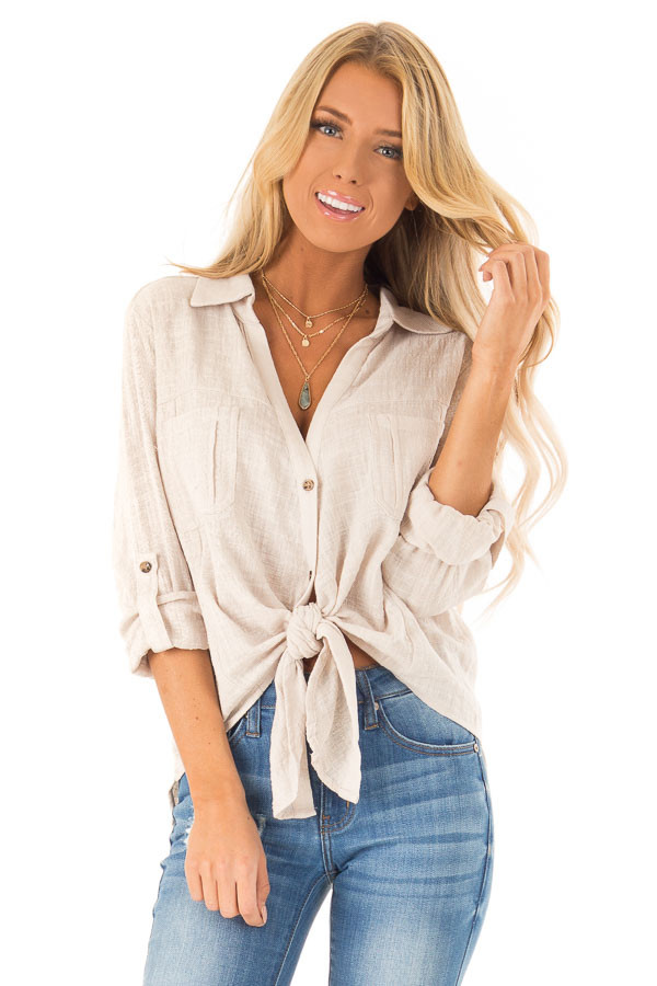 e805ee38c21 Khaki Woven Button Up Top with Front Tie Detail - Lime Lush Boutique