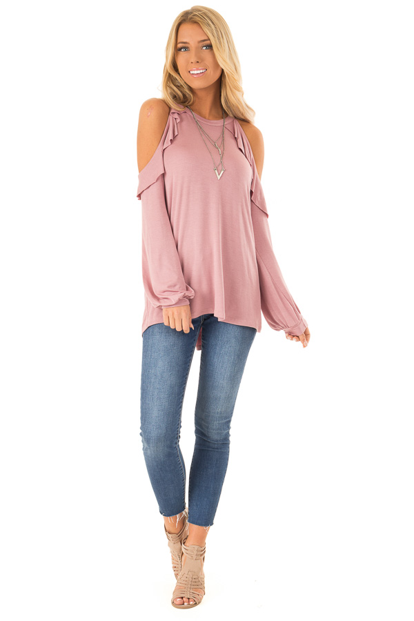 Dusty Rose Ruffle Cold Shoulder Top with Long Sleeves front full body