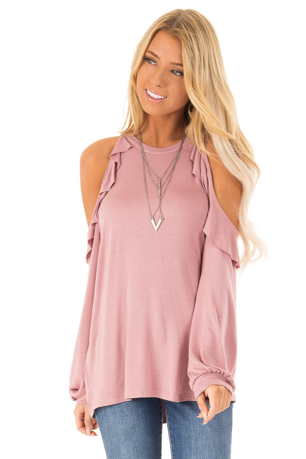 Dusty Rose Ruffle Cold Shoulder Top with Long Sleeves front close up