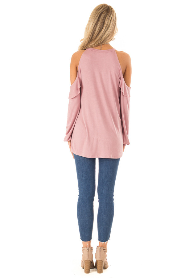 Dusty Rose Ruffle Cold Shoulder Top with Long Sleeves back full body