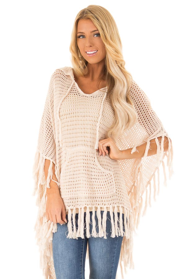 Cream Crochet Hooded Poncho Top with Kangaroo Pocket front close up