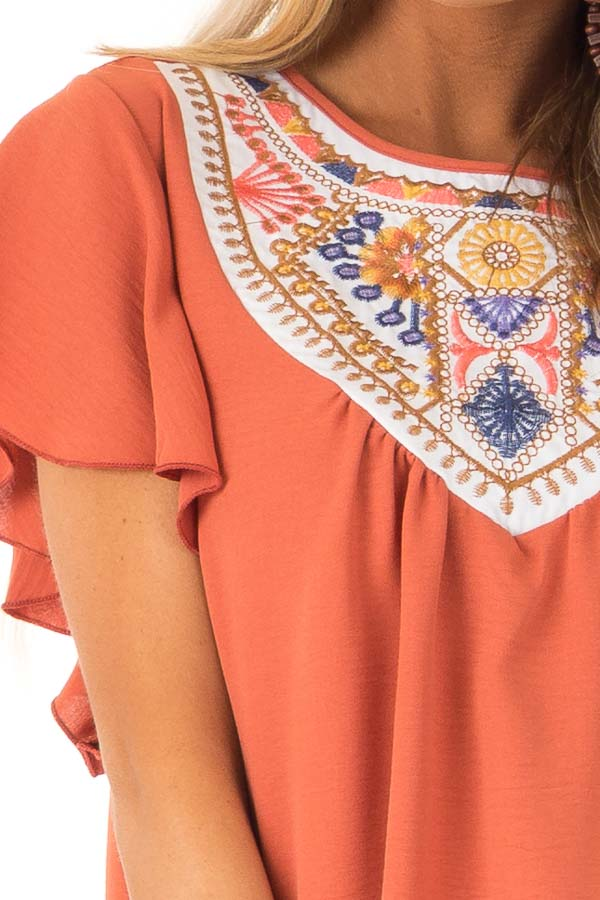 Rust Embroidered Floral Short Ruffle Sleeve Top detail