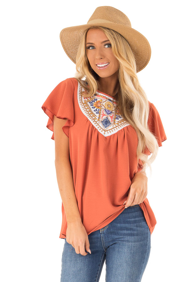 Rust Embroidered Floral Short Ruffle Sleeve Top front close up