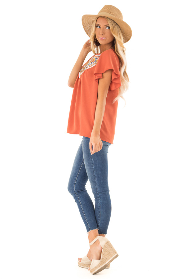 Rust Embroidered Floral Short Ruffle Sleeve Top side full body