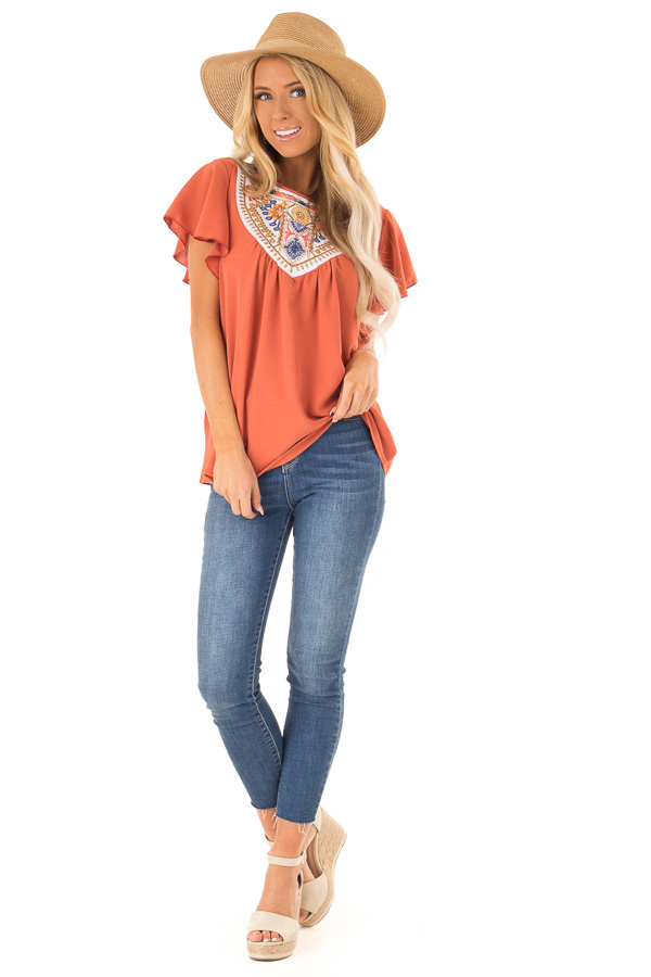 Rust Embroidered Floral Short Ruffle Sleeve Top front full body