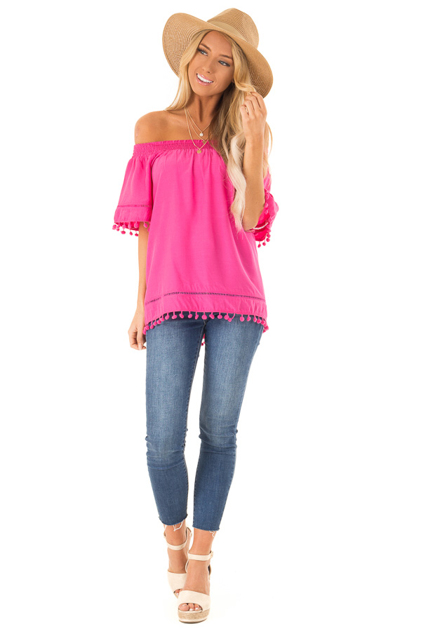 61aa31eac20dcc ... Hot Pink Off the Shoulder Top with Pom Pom Details front full body ...