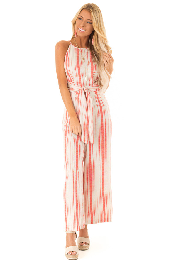 13766ec72c7c ... Fire Red and Oatmeal Striped Jumpsuit with Tie Detail front full body  ...