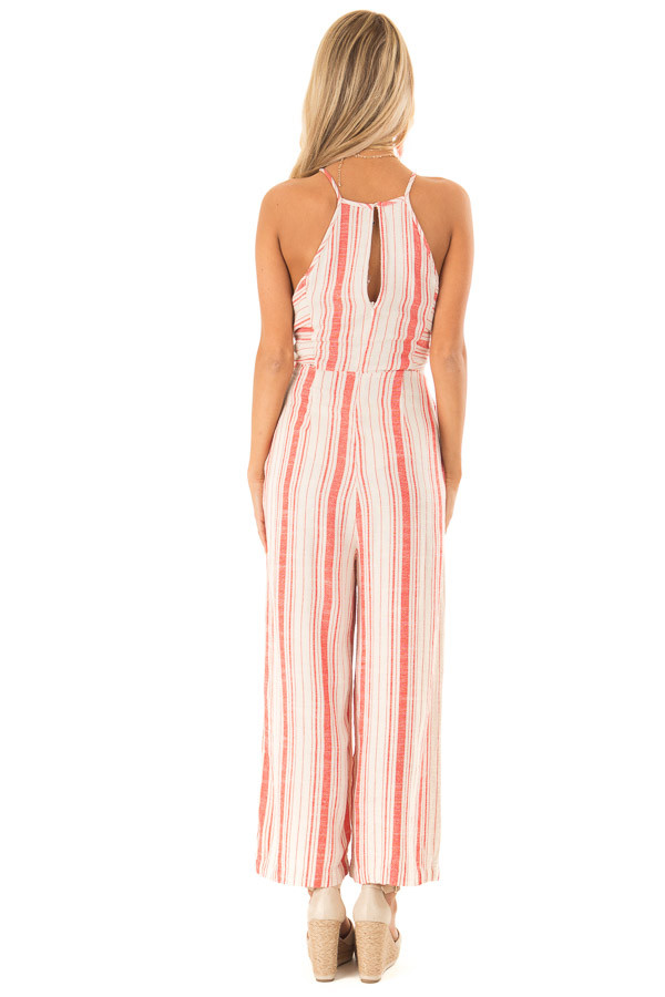 Fire Red and Oatmeal Striped Jumpsuit with Tie Detail back full body