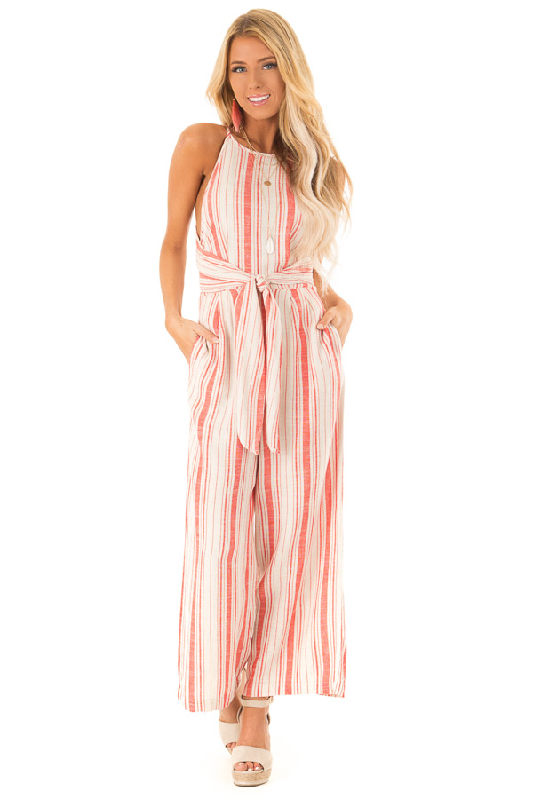 Fire Red and Oatmeal Striped Jumpsuit with Tie Detail front full body