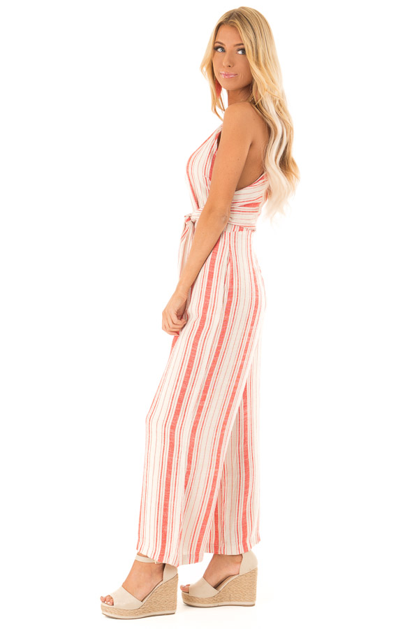 Fire Red and Oatmeal Striped Jumpsuit with Tie Detail side full body