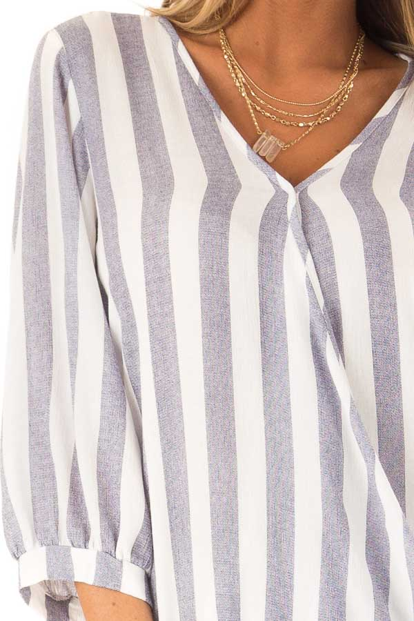 Navy and Off White Striped Surplice 3/4 Sleeve Top detail