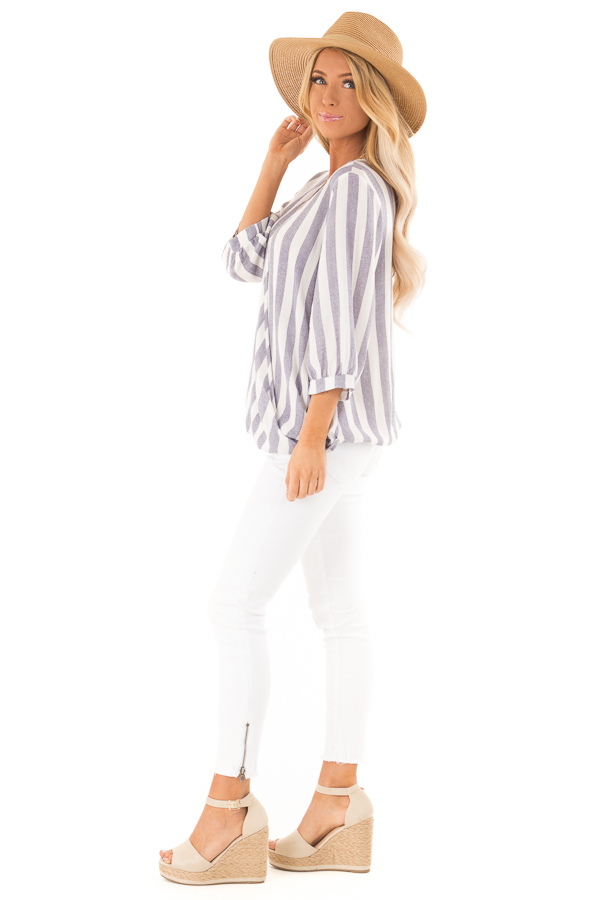 Navy and Off White Striped Surplice 3/4 Sleeve Top side full body