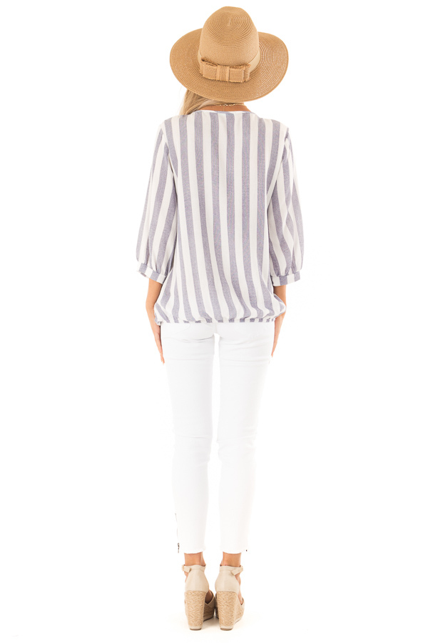 Navy and Off White Striped Surplice 3/4 Sleeve Top back full body