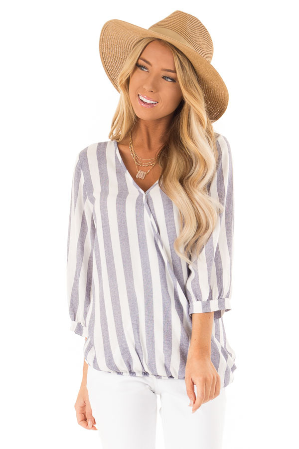 Navy and Off White Striped Surplice 3/4 Sleeve Top front close up