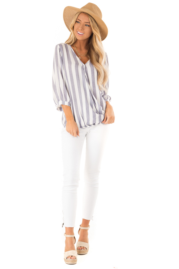 Navy and Off White Striped Surplice 3/4 Sleeve Top front full body