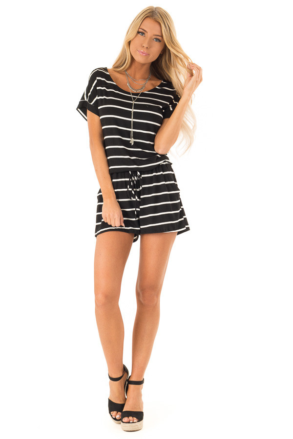 Ebony and Ivory Striped Romper with Front Tie front full body