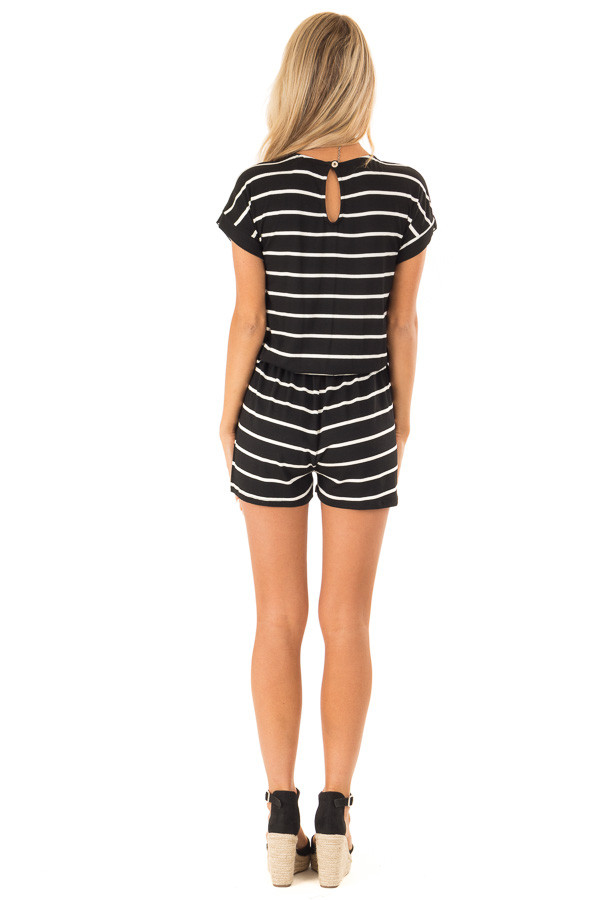Ebony and Ivory Striped Romper with Front Tie back full body