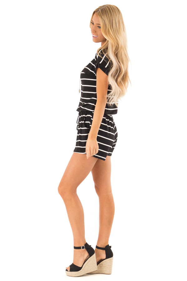 Ebony and Ivory Striped Romper with Front Tie side full body