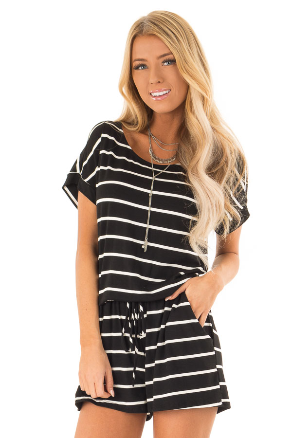 Ebony and Ivory Striped Romper with Front Tie front close up