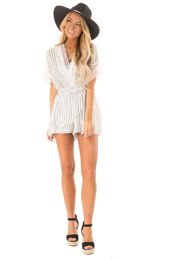 Off White and Charcoal Striped Romper with Crochet Detail front full body