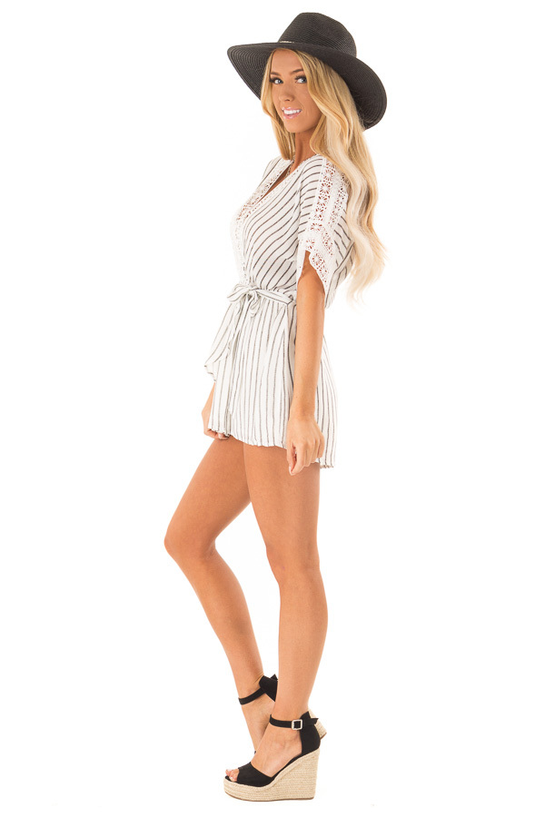 Off White and Charcoal Striped Romper with Crochet Detail side full body