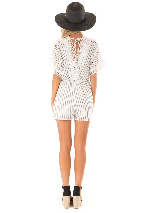 Off White and Charcoal Striped Romper with Crochet Detail back full body
