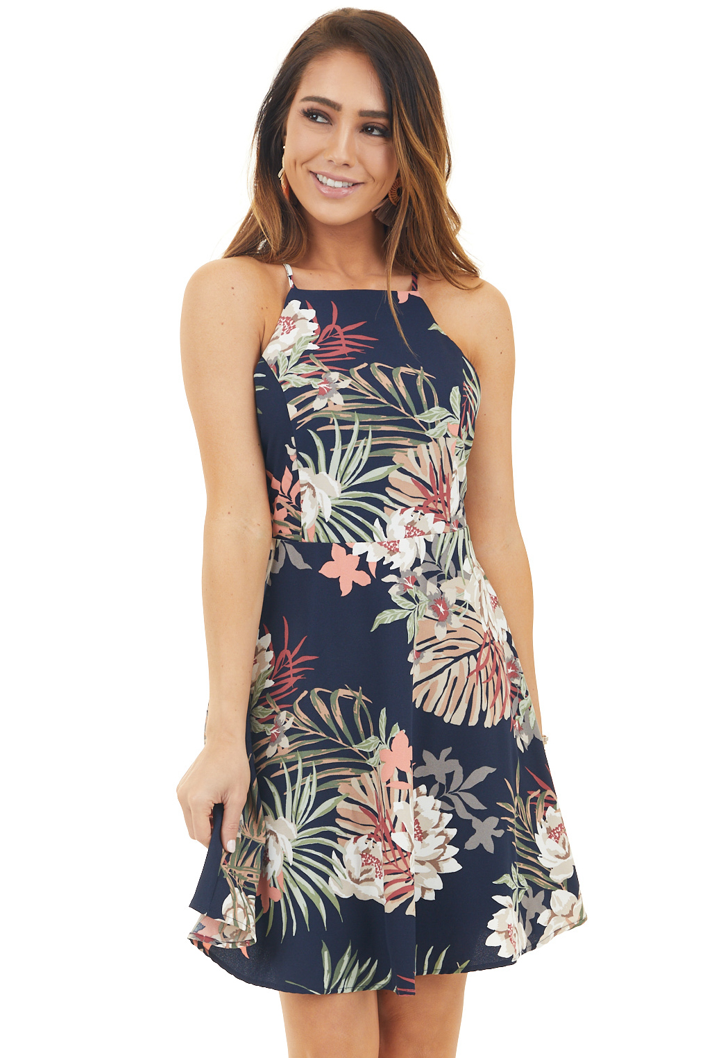 Navy Floral Print High Neck Dress With Cross Strap Detail