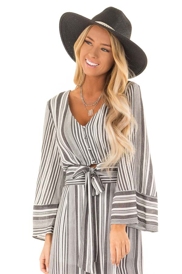 Charcoal and Ivory Striped Button Up Crop Top with Front Tie front close up