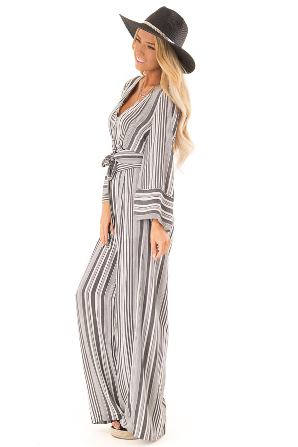 Charcoal and Ivory Striped Elastic Waist Wide Leg Pants side full body