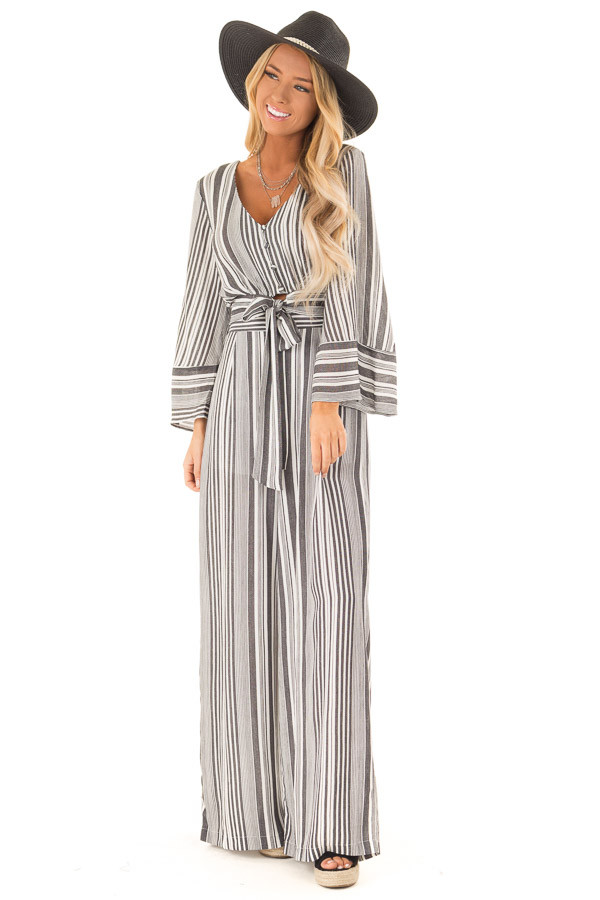 Charcoal and Ivory Striped Elastic Waist Wide Leg Pants front full body
