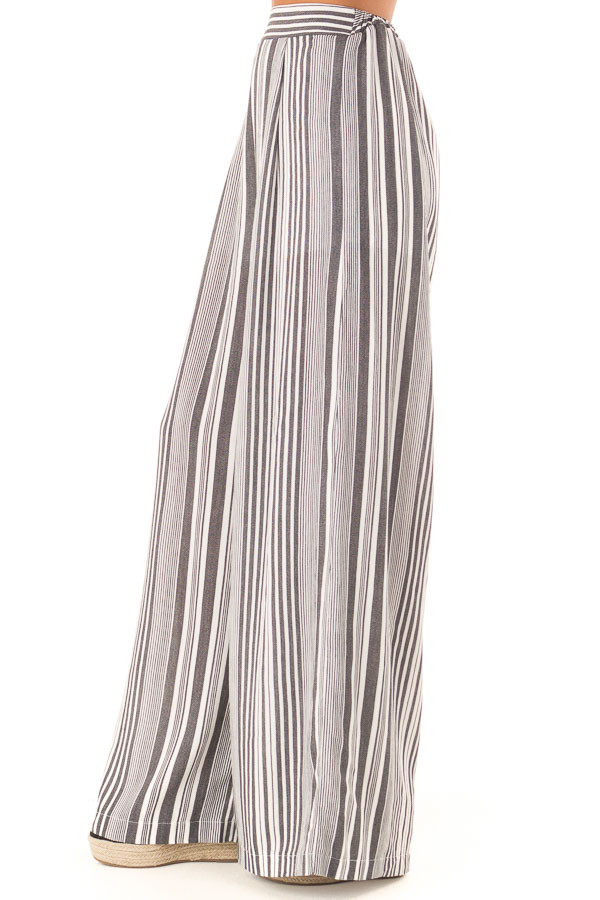 Charcoal and Ivory Striped Elastic Waist Wide Leg Pants side view