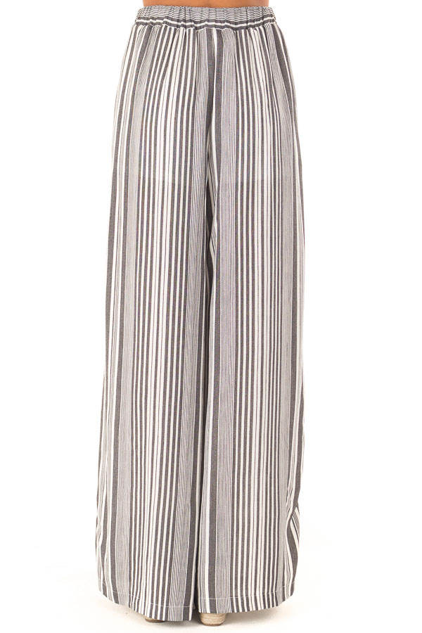 Charcoal and Ivory Striped Elastic Waist Wide Leg Pants back view