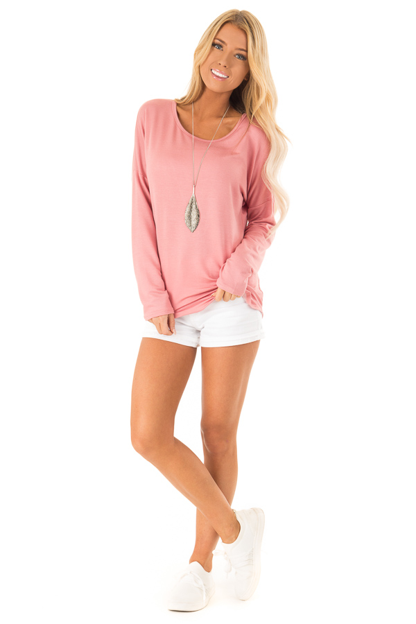 Dusty Rose Long Sleeve Open Back Top with Twist Detail front full body