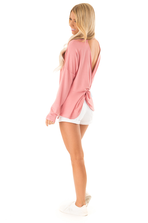Dusty Rose Long Sleeve Open Back Top with Twist Detail side full body