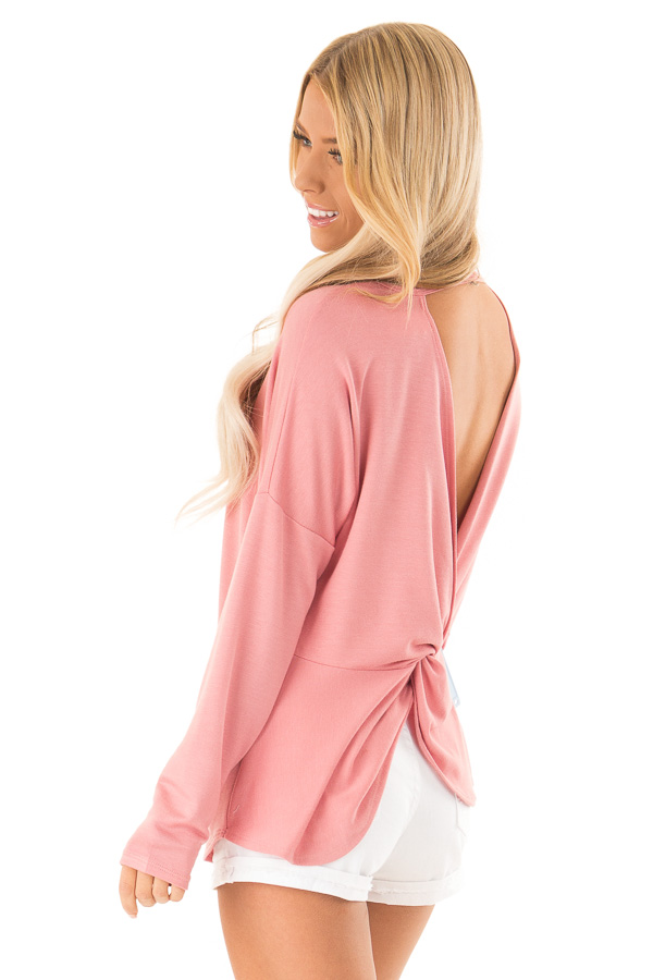Dusty Rose Long Sleeve Open Back Top with Twist Detail back side close up