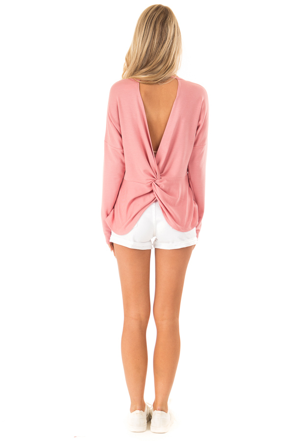 Dusty Rose Long Sleeve Open Back Top with Twist Detail back full body