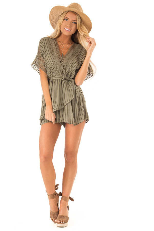 Dark Olive and Black Striped Romper with Crochet Detail front full body