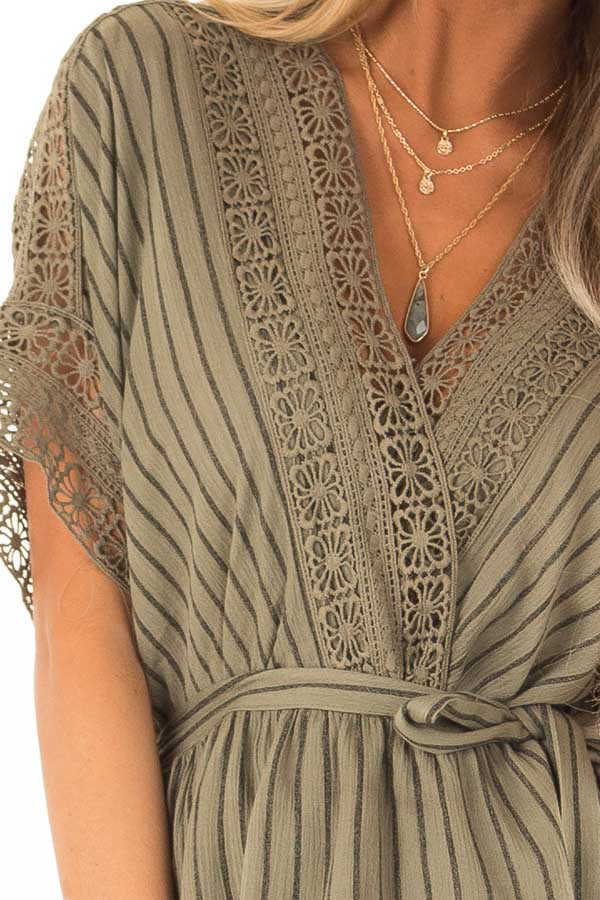 Dark Olive and Black Striped Romper with Crochet Detail detail