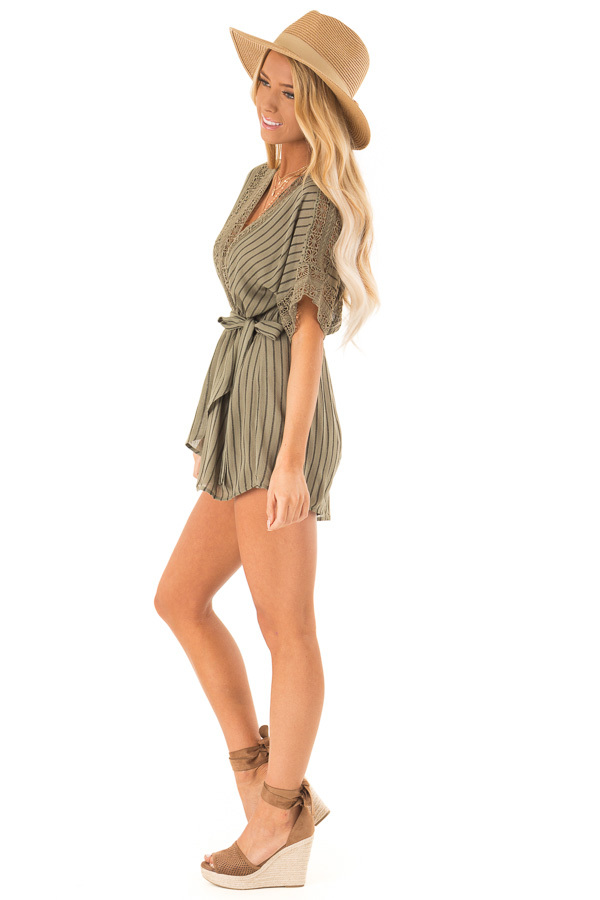 Dark Olive and Black Striped Romper with Crochet Detail side full body