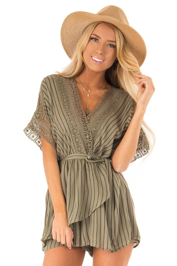Dark Olive and Black Striped Romper with Crochet Detail front close up