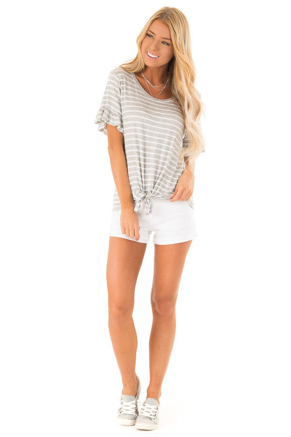 Heather Grey and Ivory Striped Top with Short Sleeves front full body