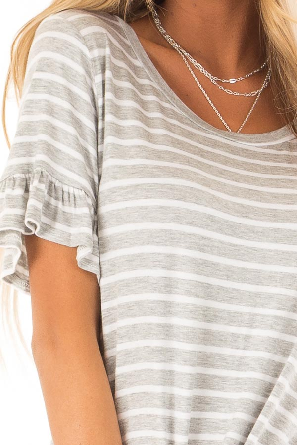 Heather Grey and Ivory Striped Top with Short Sleeves detail