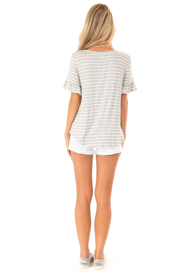 Heather Grey and Ivory Striped Top with Short Sleeves back full body