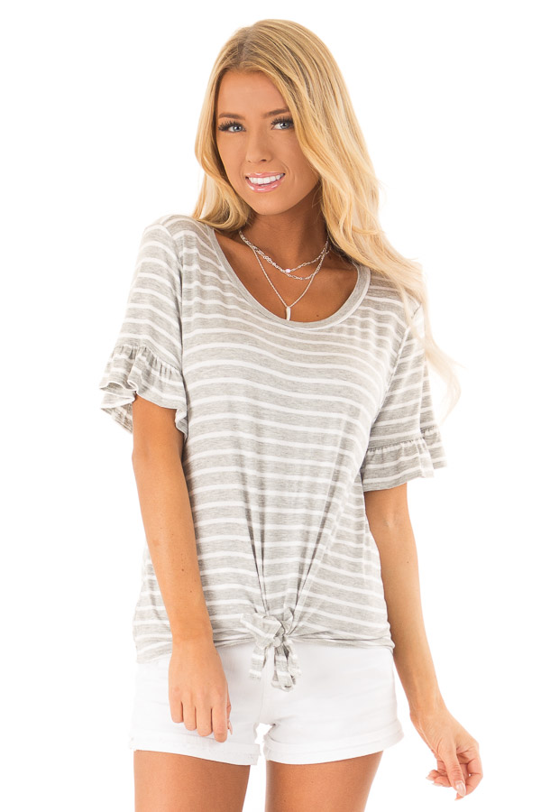 Heather Grey and Ivory Striped Top with Short Sleeves front close up