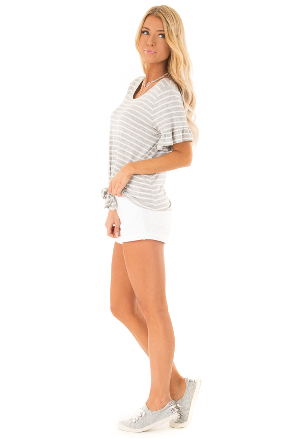 Heather Grey and Ivory Striped Top with Short Sleeves side full body