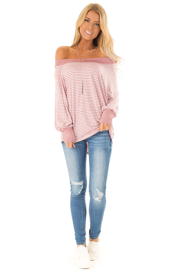 5284a1d1afc Mauve and Ivory Striped Off the Shoulder Long Sleeve Top front full body