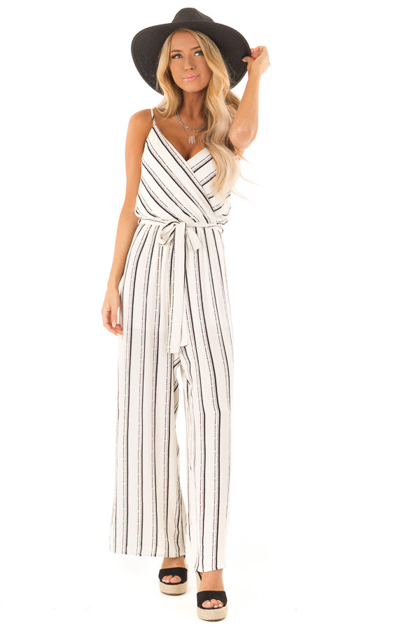 Black and Off White Striped Jumpsuit with Waist Tie Detail front full body