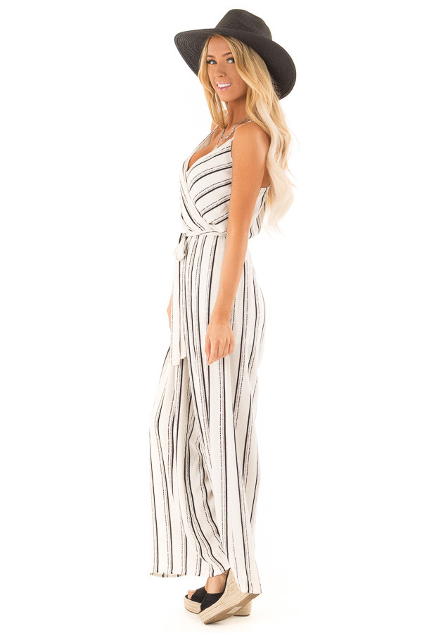 Black and Off White Striped Jumpsuit with Waist Tie Detail side full body