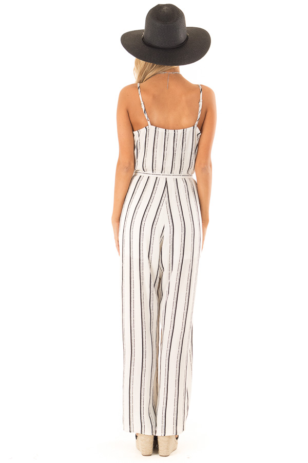 Black and Off White Striped Jumpsuit with Waist Tie Detail back full body